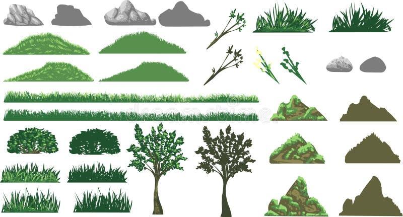 Grama, árvore e montes ajustados ilustração royalty free