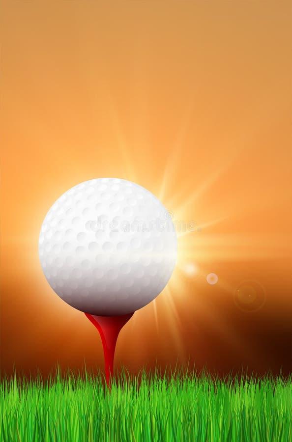 Grama, bola de golfe no T vermelho e por do sol brilhante ilustração do vetor