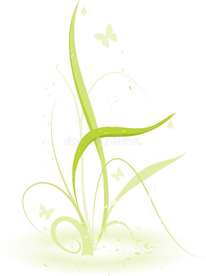 Grama com borboletas ilustração do vetor