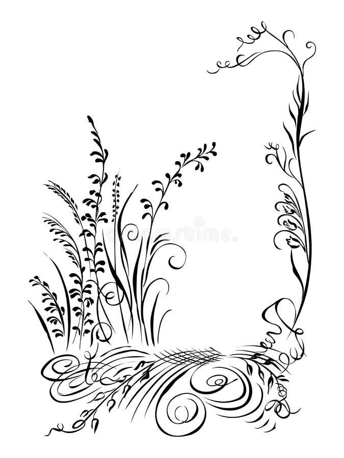 A grama da caligrafia, flores, planeia a silhueta preta ilustração stock