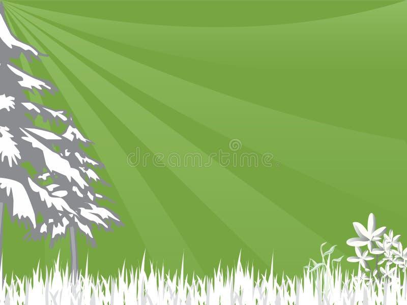 Grama e árvores ilustração stock