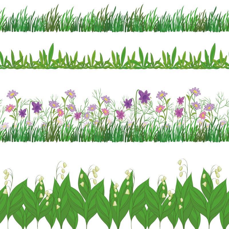 A grama e as flores, ajustaram-se sem emenda ilustração do vetor