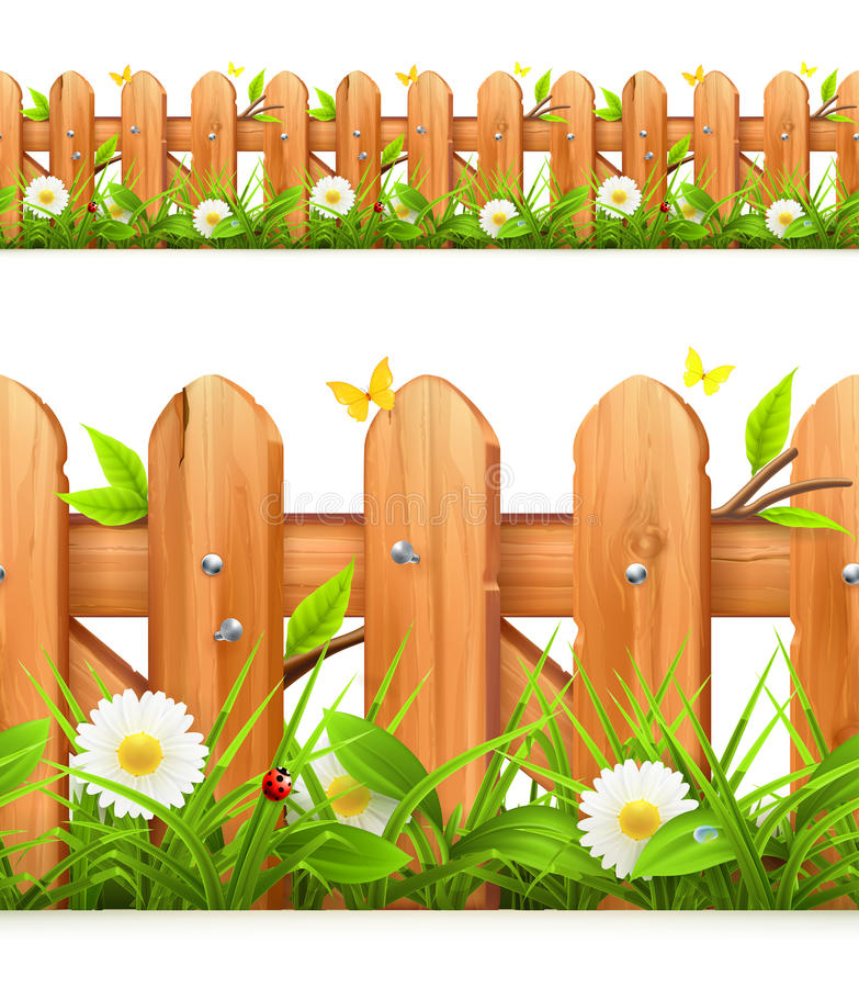 Grama e cerca de madeira ilustração stock