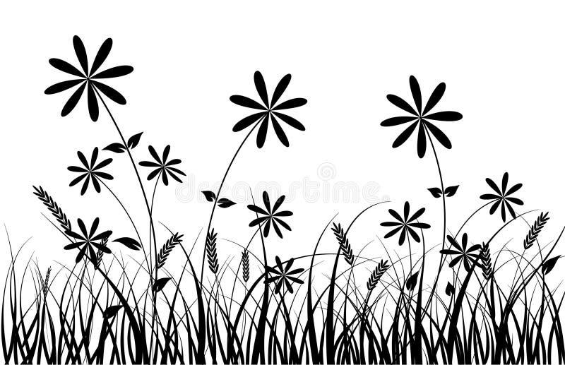 Grama e flor, vetor ilustração stock
