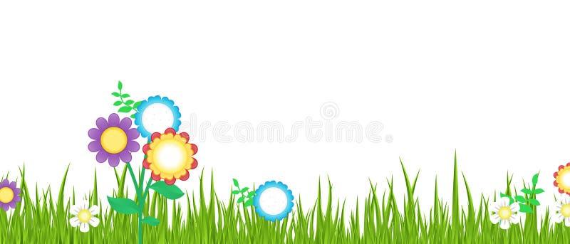 Grama e flores ilustração stock