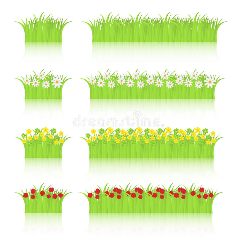 Grama e flores ajustadas ilustração royalty free