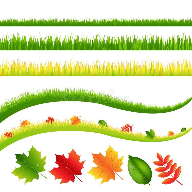 Grama e folhas ilustração stock