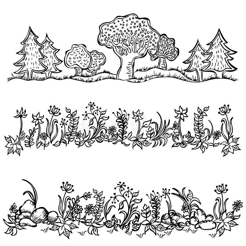 Grama, flores, branco preto das árvores no fundo isolado ilustração royalty free