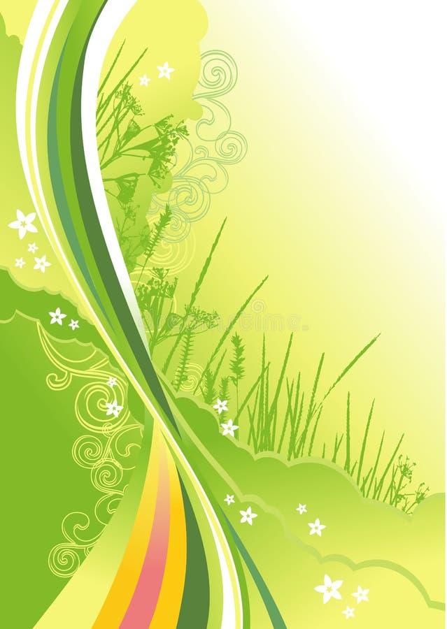 Grama, flores e linhas fundo do sumário ilustração royalty free