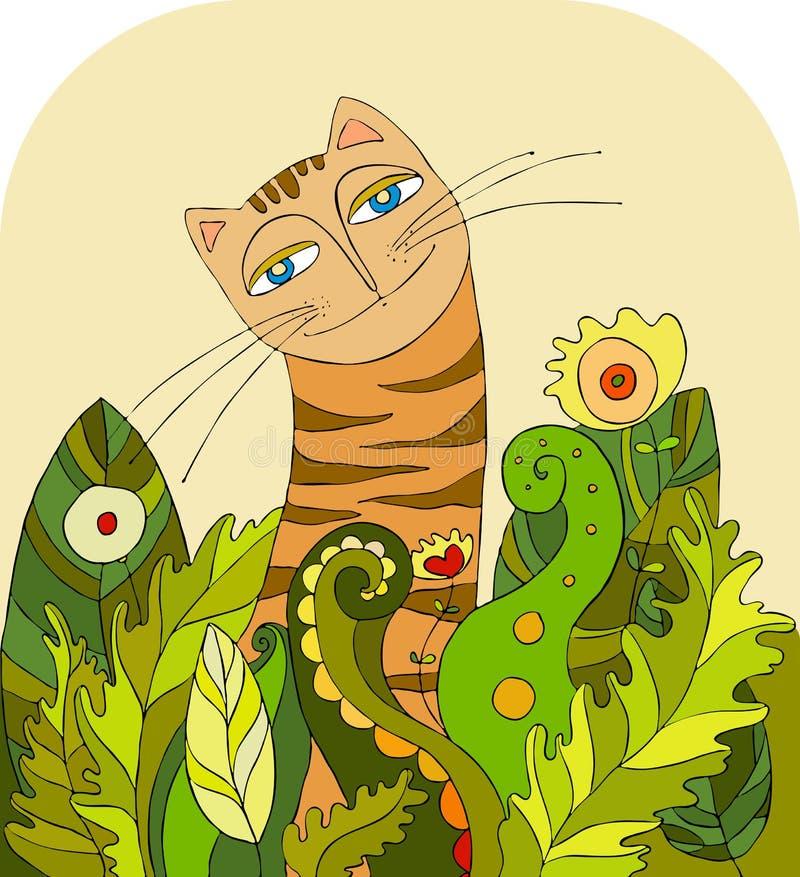 Grama principal do gato ilustração royalty free