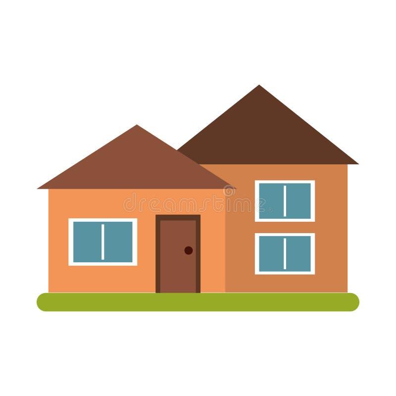 Grama verde da arquitetura suburbana da casa ilustração royalty free