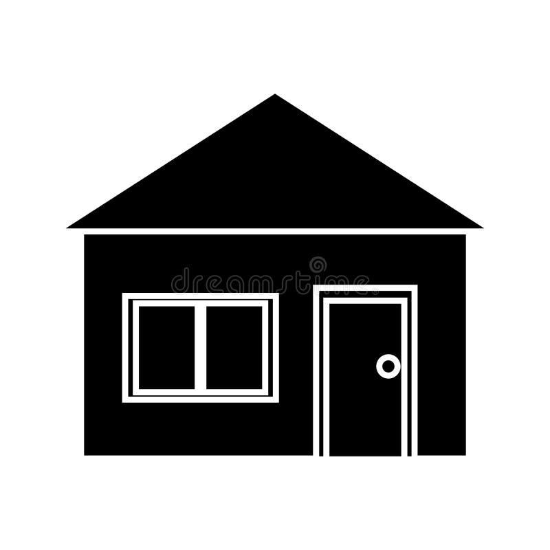 Grama verde da arquitetura suburbana da casa da silhueta ilustração stock