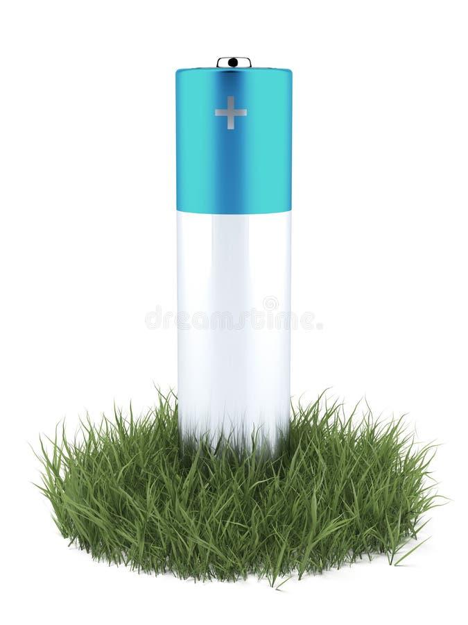 Grama verde e bateria ilustração stock