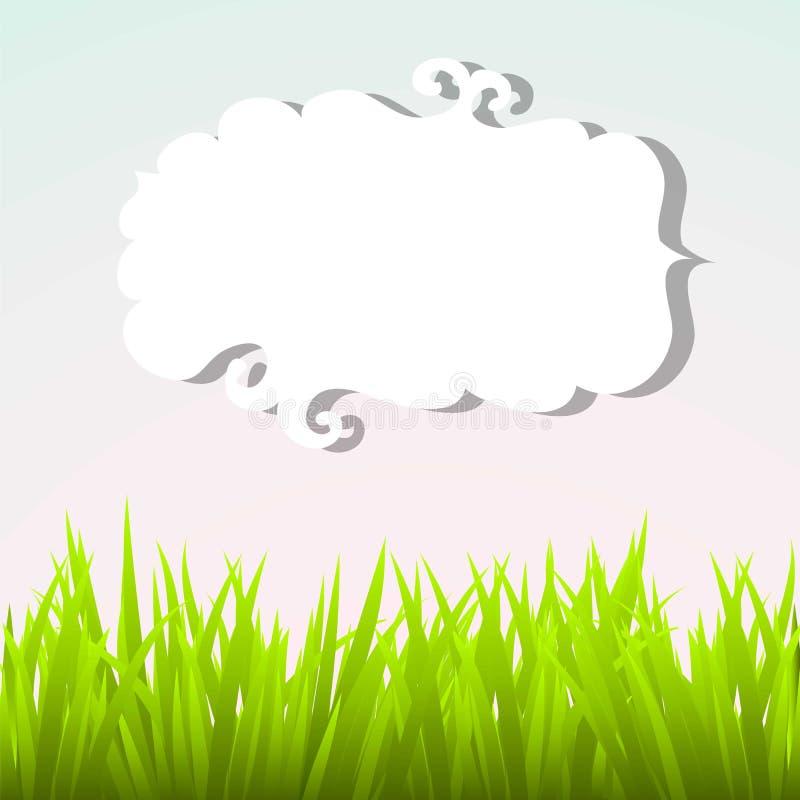 Grama verde e céu ilustração royalty free