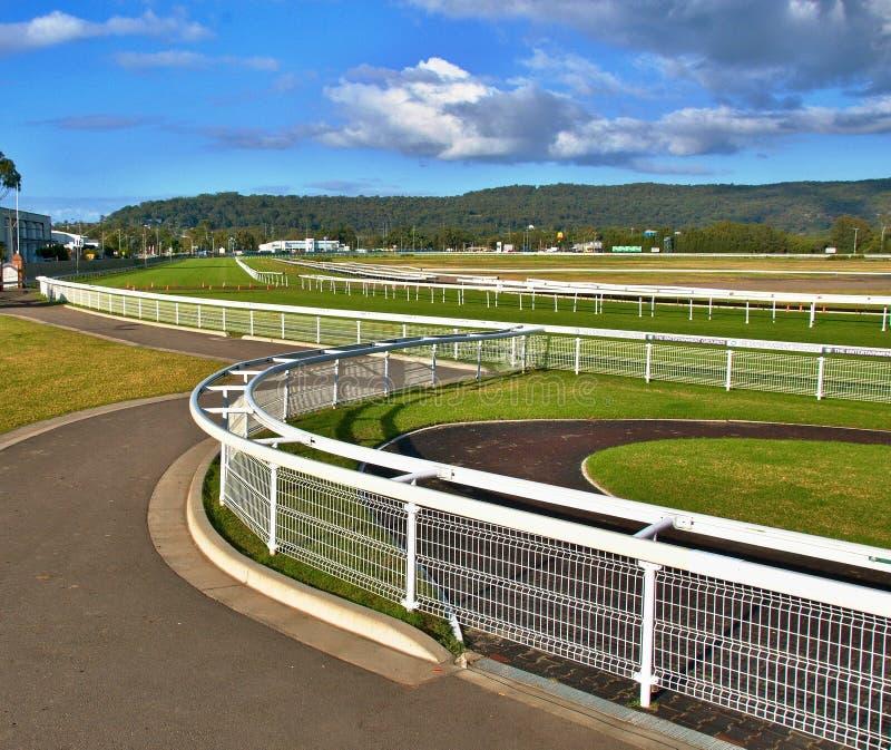 Grama verde e cercas brancas de um cavalo australiano da grama do país foto de stock