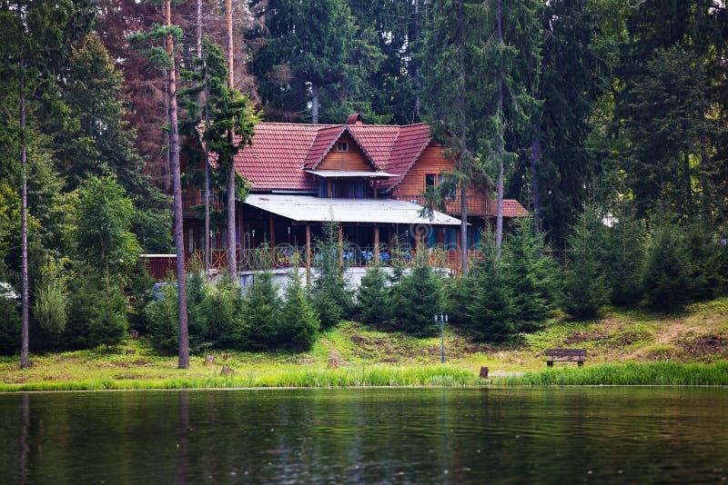 A grama verde a mais forrest do lago da vila da casa imagem de stock