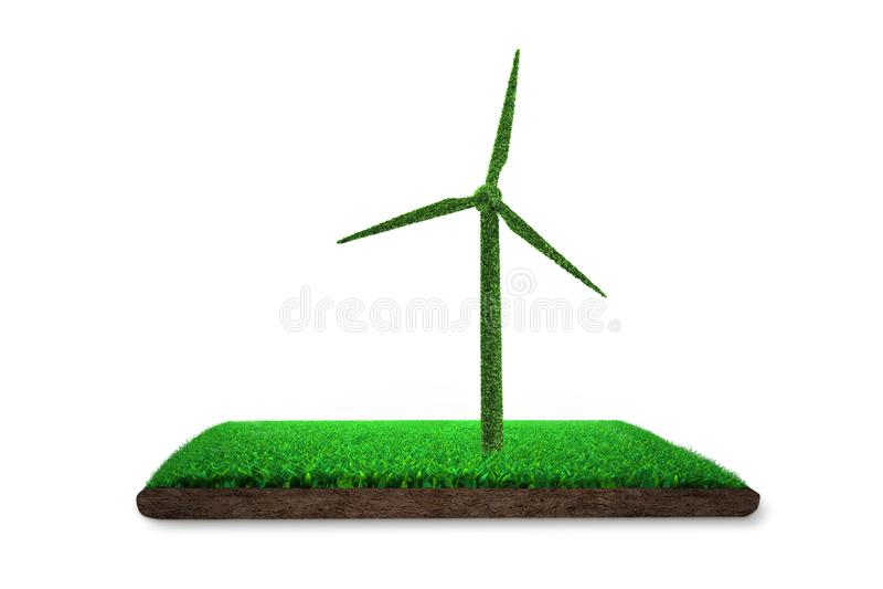 Grama verde na forma da turbina eólica com lama, ilustração 3D ilustração royalty free