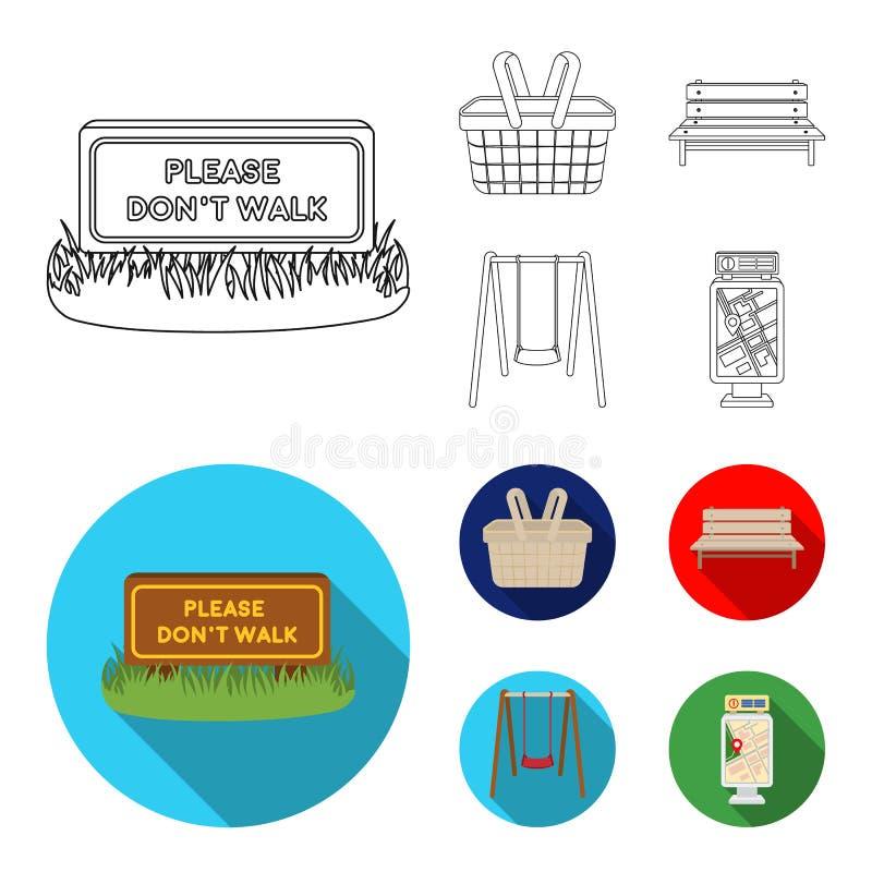 Gramado com um sinal, uma cesta com alimento, um banco, um balanço Ícones ajustados da coleção do parque no esboço, símbolo liso  ilustração royalty free