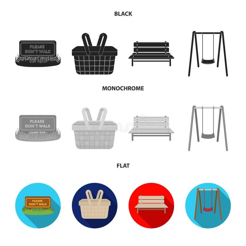 Gramado com um sinal, uma cesta com alimento, um banco, um balanço Ícones ajustados da coleção do parque no estilo preto, liso, m ilustração stock