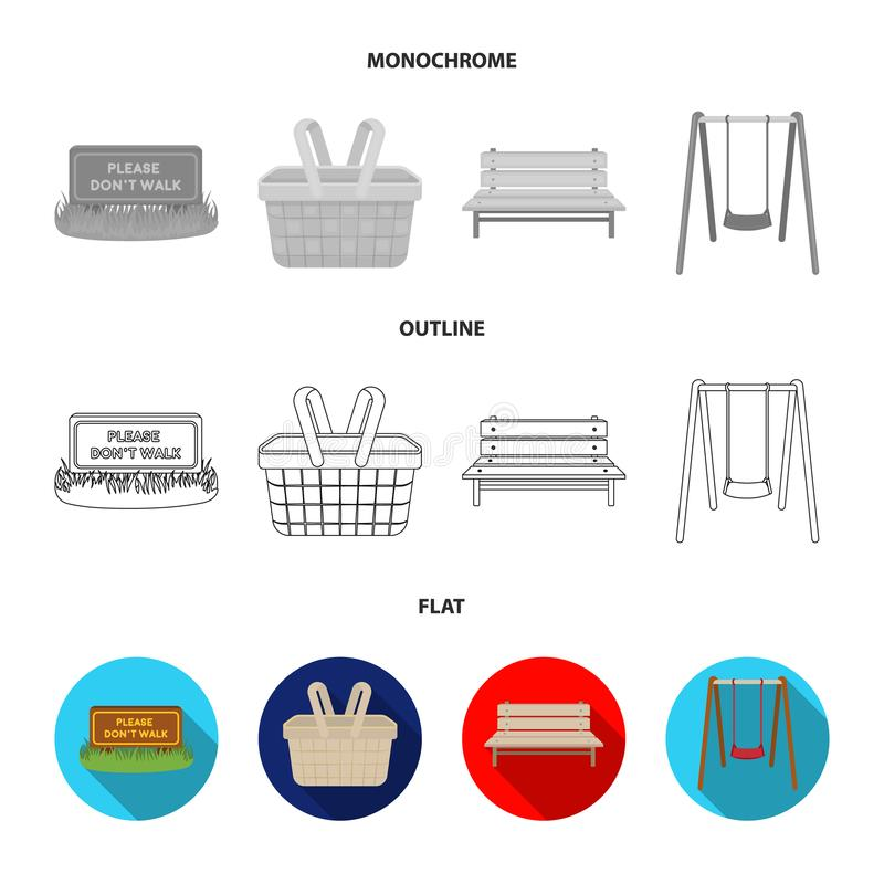 Gramado com um sinal, uma cesta com alimento, um banco, um balanço Ícones ajustados da coleção do parque no plano, esboço, estilo ilustração royalty free