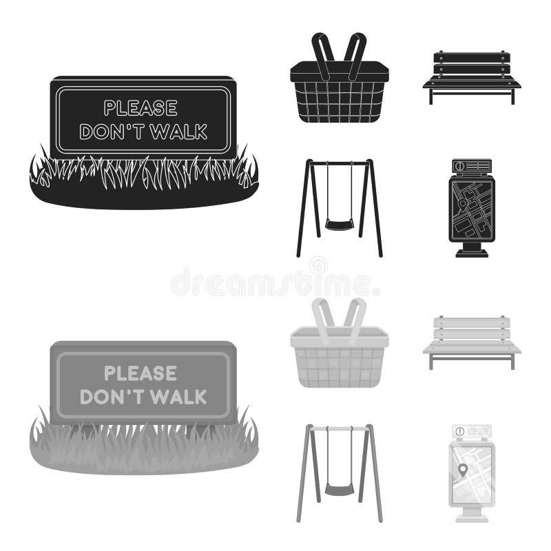 Gramado com um sinal, uma cesta com alimento, um banco, um balanço Ícones ajustados da coleção do parque no preto, símbolo do vet ilustração stock