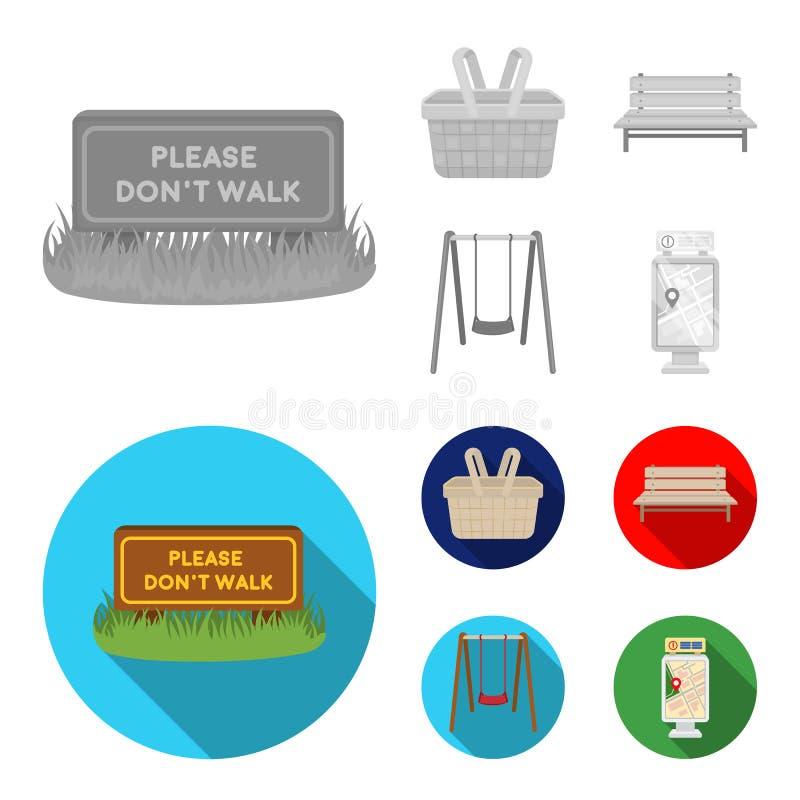 Gramado com um sinal, uma cesta com alimento, um banco, um balanço Ícones ajustados da coleção do parque no símbolo monocromático ilustração stock