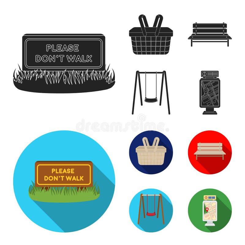 Gramado com um sinal, uma cesta com alimento, um banco, um balanço Ícones ajustados da coleção do parque no símbolo preto, liso d ilustração royalty free