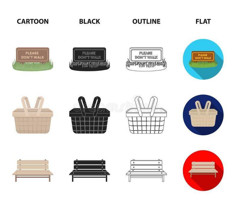 Gramado com um sinal, uma cesta com alimento, um banco, um balanço Ícones ajustados da coleção do parque nos desenhos animados, p ilustração royalty free