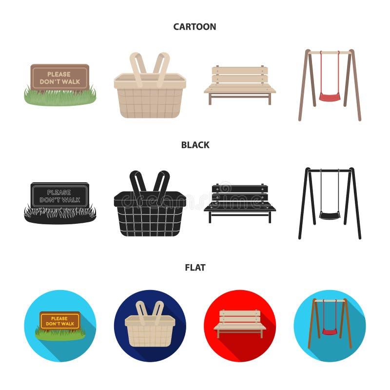 Gramado com um sinal, uma cesta com alimento, um banco, um balanço Ícones ajustados da coleção do parque nos desenhos animados, p ilustração stock