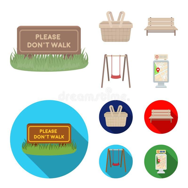 Gramado com um sinal, uma cesta com alimento, um banco, um balanço Ícones ajustados da coleção do parque nos desenhos animados, s ilustração stock