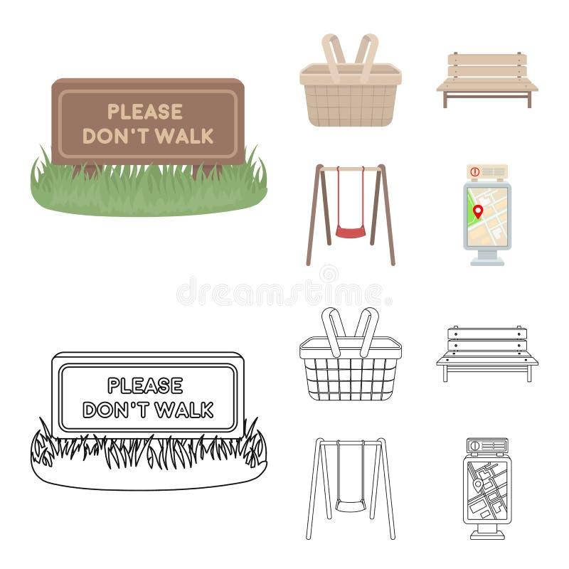Gramado com um sinal, uma cesta com alimento, um banco, um balanço Ícones ajustados da coleção do parque nos desenhos animados, s ilustração do vetor