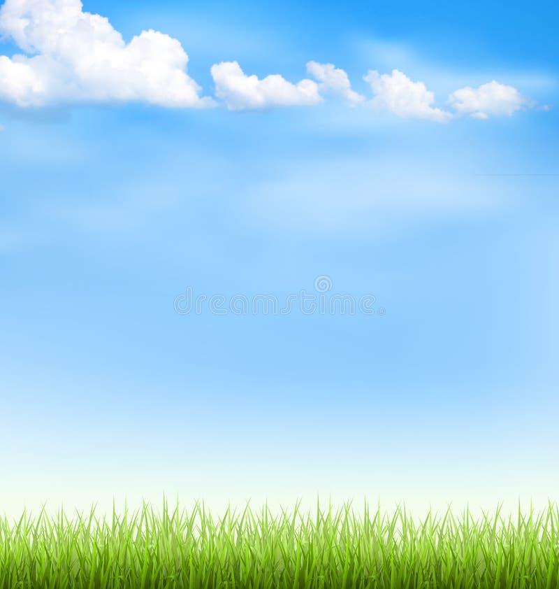 Gramado da grama com as nuvens no céu azul ilustração stock