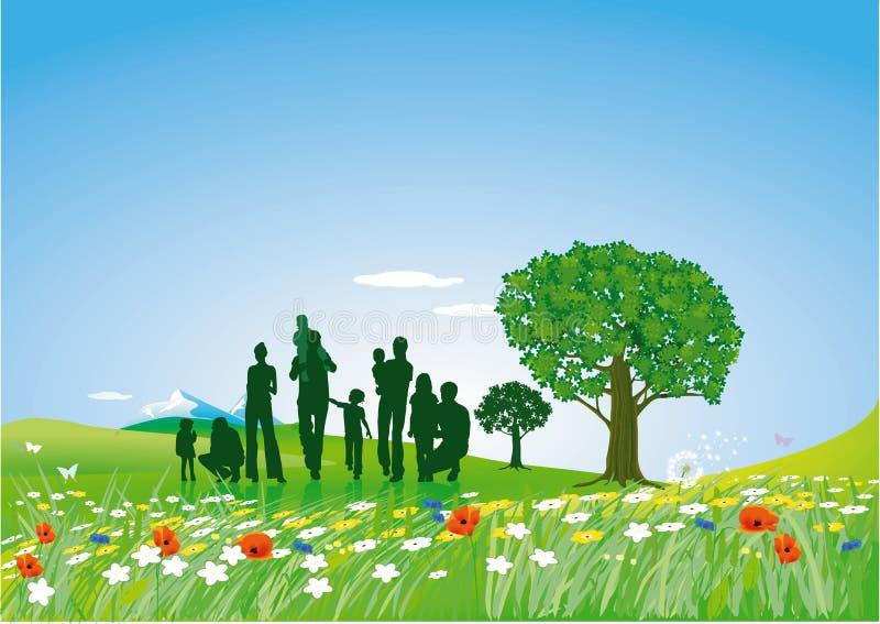 Gramado do verão com família ilustração stock