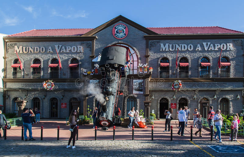 Gramado Mundo a Vapor Brazil. The facade of Mundo a Vapor steam engine museum with its Locomotive accident. Gramado, Rio Grande do Sul, Brazil stock photos