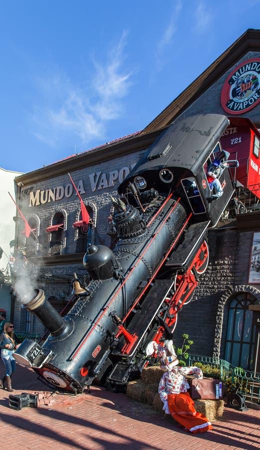 Gramado Mundo a Vapor Brazil. The facade of Mundo a Vapor steam engine museum with its Locomotive accident. Gramado, Rio Grande do Sul, Brazil stock image