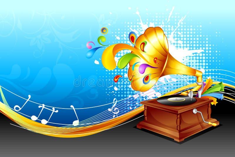 Gramaphone op abstracte achtergrond stock illustratie