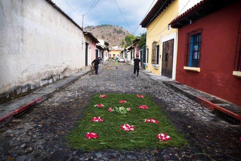 Grame os tapetes da flor de Alfombre nas ruas cobbled de Antígua, Guatemala fotografia de stock royalty free