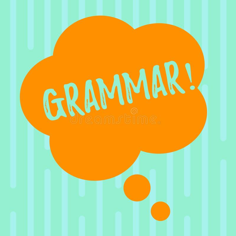 Grammaire des textes d'écriture de Word Concept d'affaires pour le système et structure des règles d'écriture d'une langue masque illustration stock
