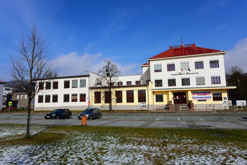 Grammar school. In town Vsetin stock photography