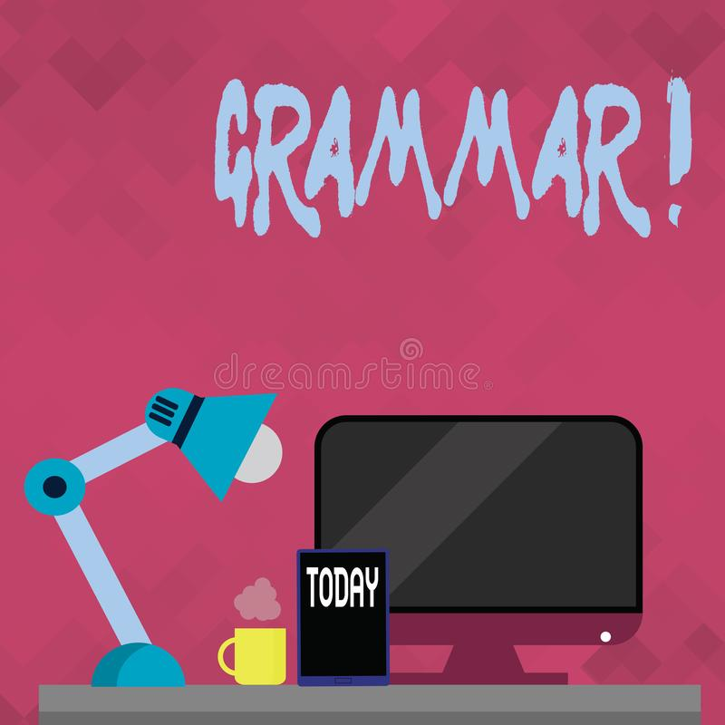 Grammatik för ordhandstiltext Affärsidé för system och struktur av regler för en handstil för språk korrekta riktiga stock illustrationer