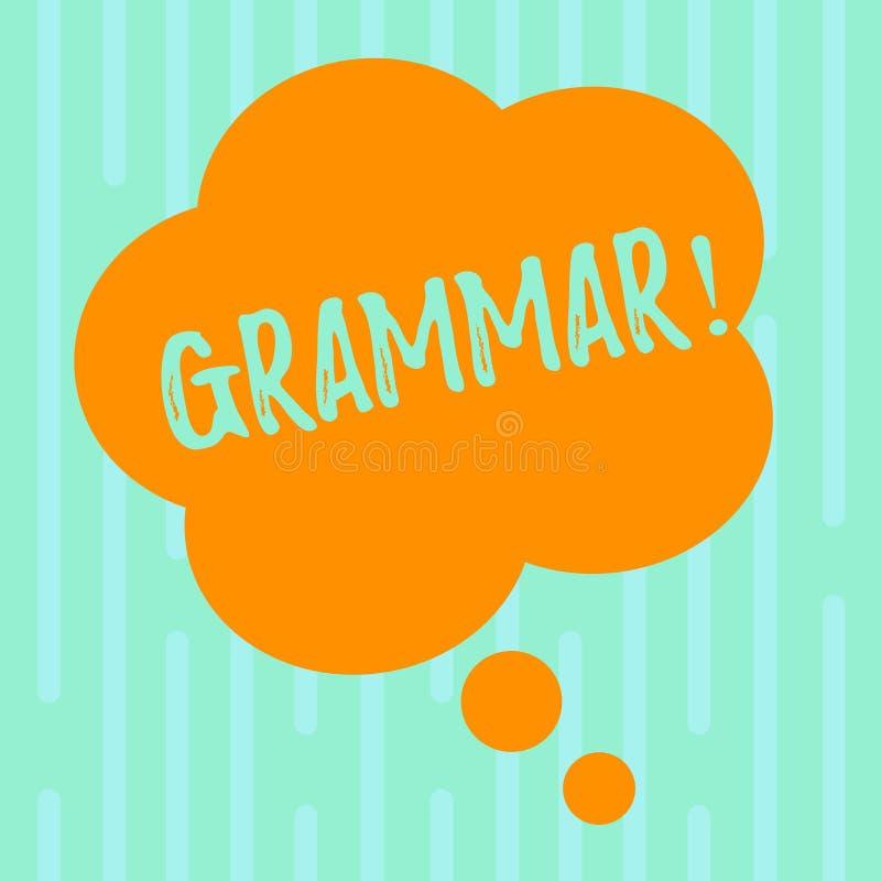 Grammatik för ordhandstiltext Affärsidé för system och struktur av skrivande regler för ett språk att förbigå blom- färg stock illustrationer