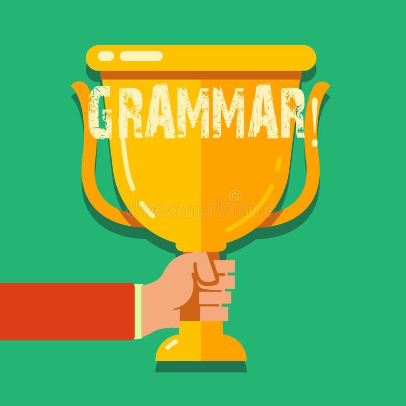 Grammatik för ordhandstiltext Affärsidéen för system och strukturen av skrivande regler för ett språk räcker innehavmellanrumet stock illustrationer