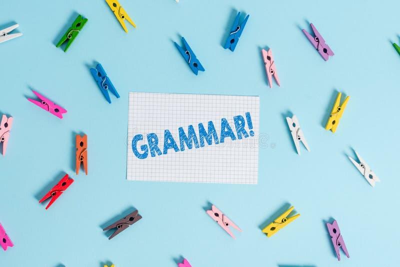 Grammatik f?r handskrifttexthandstil Syntax och morfologi för språk för struktur för system för begreppsbetydelse färgade hel arkivbilder