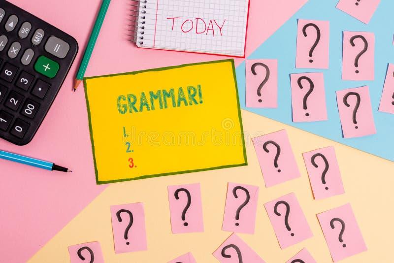 Grammatik f?r ordhandstiltext Affärsidé för helt material för matematik för syntax och för morfologi för språk för systemstruktur royaltyfri bild