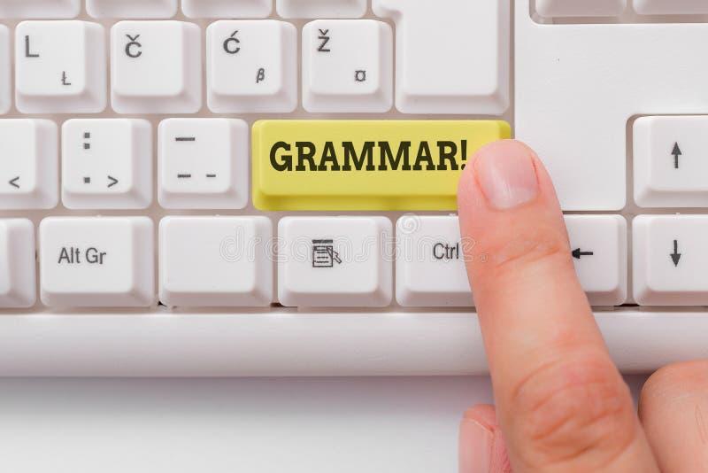 Grammatik f?r ordhandstiltext Affärsidé för helt tangentbord för PC för syntax och för morfologi för språk för systemstruktur vit arkivbild