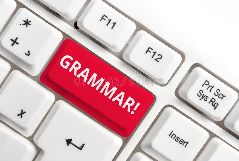 Grammatik f?r ordhandstiltext Affärsidé för helt tangentbord för PC för syntax och för morfologi för språk för systemstruktur vit royaltyfria foton
