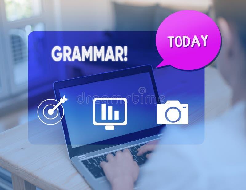 Grammatik f?r ordhandstiltext Aff?rsid? f?r hel syntax och morfologi f?r spr?k f?r systemstruktur arkivfoto