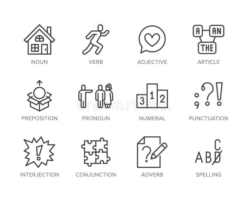 Grammatik plan linje symbolsupps royaltyfri illustrationer