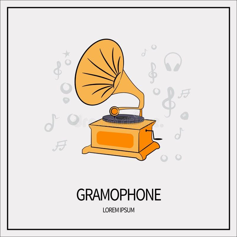 Grammofon isolerad symbol royaltyfri illustrationer