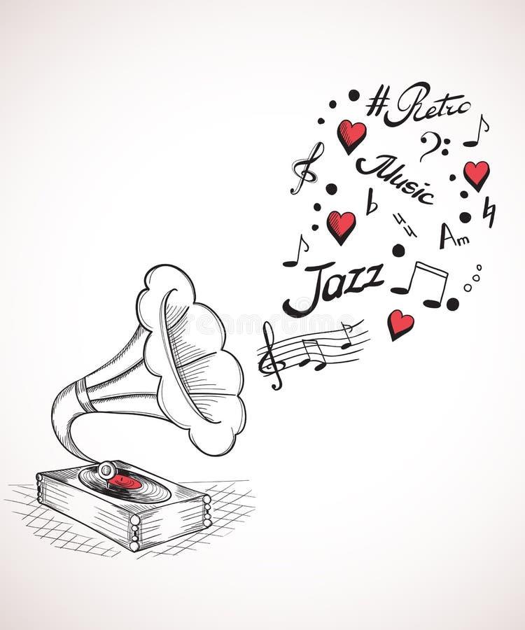 Grammofon med en bubbla av musikbeståndsdelar royaltyfri illustrationer